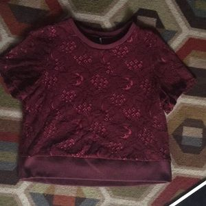 Burgundy Lace Crop Top!